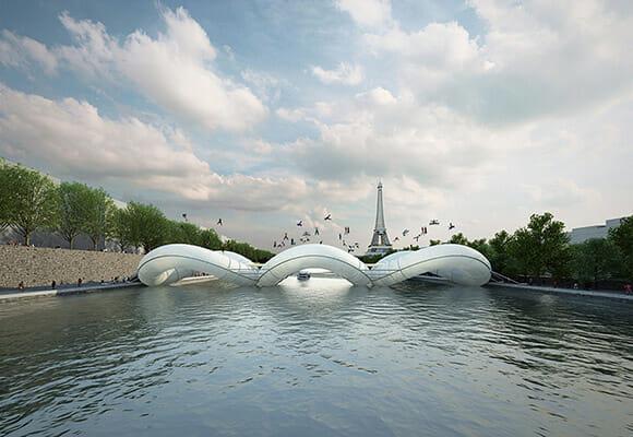 Uma ponte inflável gigante feita com pula-pulas. Quem vai primeiro? Eu! EU!
