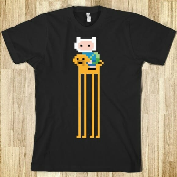Camisetas com estampas dos personagens de Adventure Time estilo 8-bits