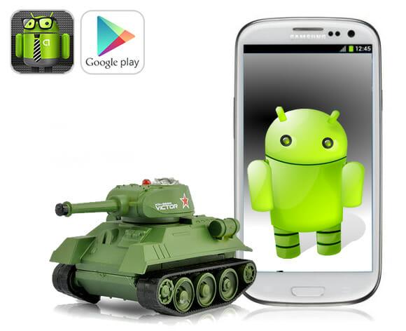 Mini tanque de guerra de controle remoto pode ser controlado por smartphones Android