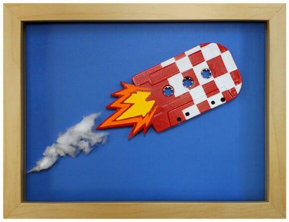 Artista transforma fitas cassete em quadros divertidos