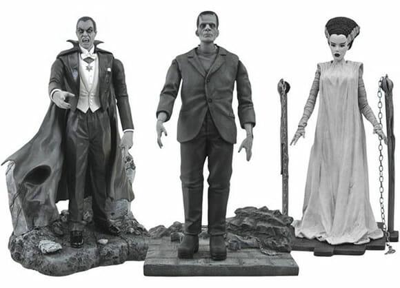 Monstros famosos de filmes antigos de terror ganham versão de Action Figures preto e branco