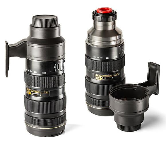 Caneca e garrafa térmica de aço inox em forma de lente de câmera fotográfica. Woooww!!!