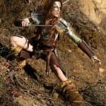Cosplay perfeito da personagem Aela do game Skyrim