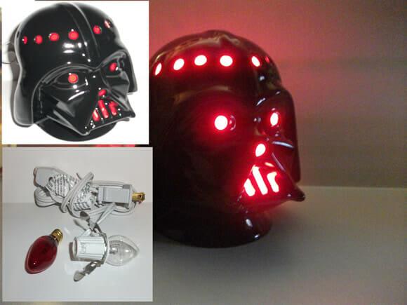Porta-canetas e luminária em forma de capacete do Darth Vader