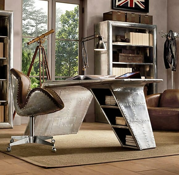 mesa aviator para escrit rio incrivelmente inspirada em avi es da segunda guerra mundial. Black Bedroom Furniture Sets. Home Design Ideas