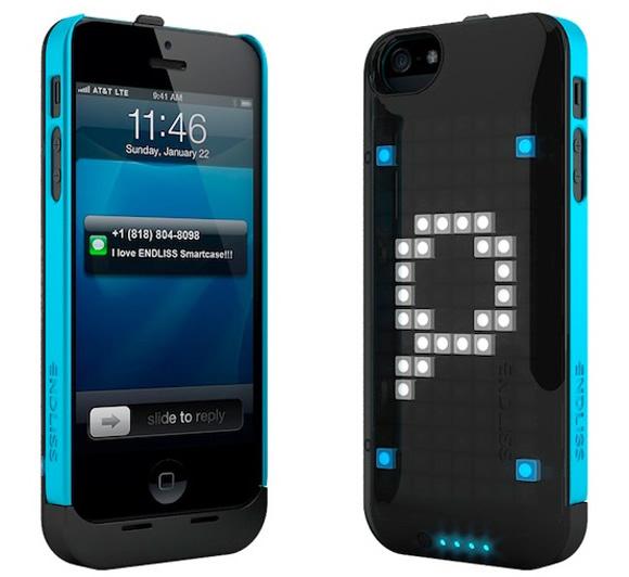 Endliss é uma capa eletrônica para iPhones que exibe notificações em 8-bits atrávés de LEDs