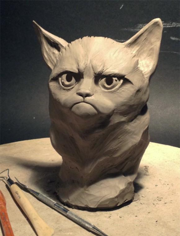 Grumpy Cat - Gato mal-humorado vira escultura