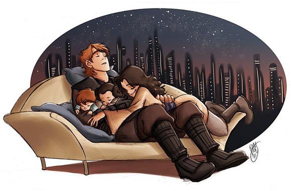 Ilustrações mostram o cotidiano da família Skywalker se Anakin não tivesse mudado para o lado negro