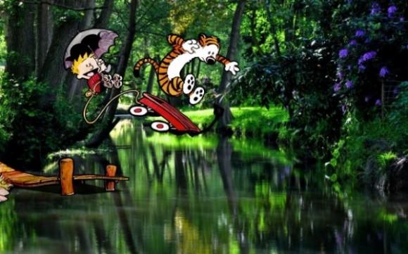 Montagens mostram Calvin e Haroldo se aventurando em cenários reais