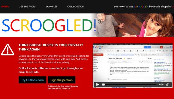 """Microsoft lança website atacando Gmail como """"invasor de privacidade"""""""