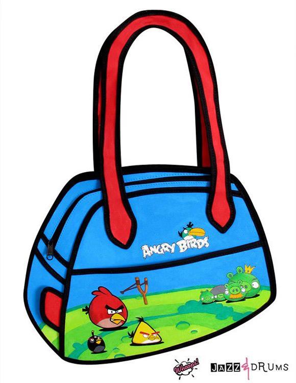 Com vocês as bolsas 2D do Angry Birds! Weeee!!!