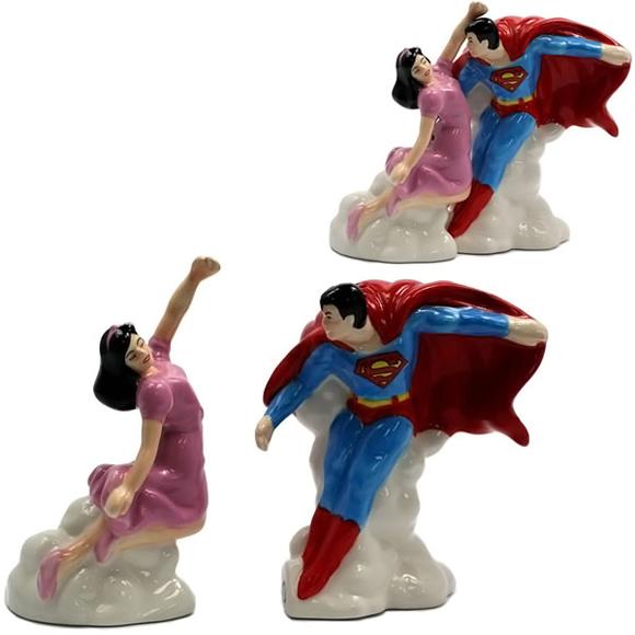 Conjunto de saleiro e pimenteiro do Super-Homem e Lois Lane