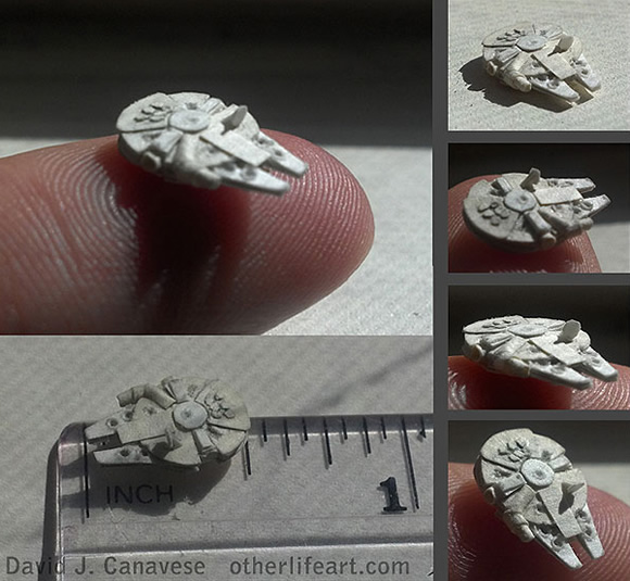 Papercraft minúsculo da Millennium Falcon de Star Wars tem apenas 1,27 cm