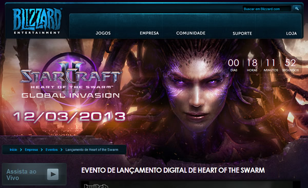 Evento de Lançamento StarCraft II - Heart of the Swarm. CORRE!!!