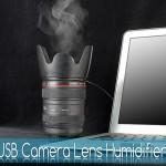 Umidificador de ar USB em forma de lente de câmera fotográfica para amantes de fotografia
