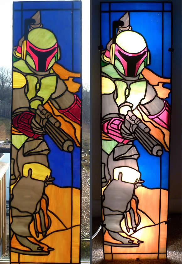 Vitral incrível do Boba Fett da série Star Wars