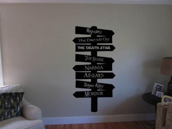 Adesivo de parede geek te mostra o caminho para hogwarts Vinilos pared harry potter