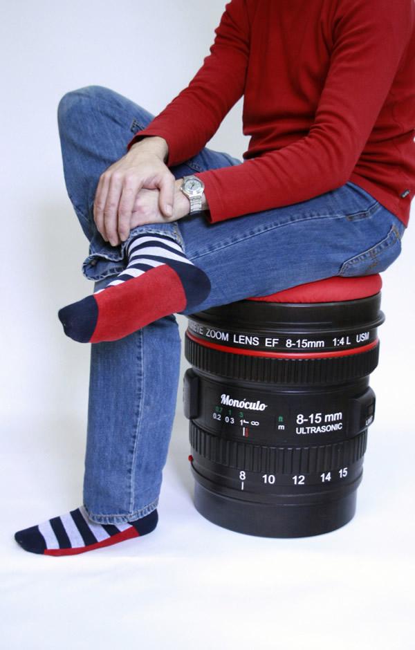Banco em forma de lente de câmera fotográfica para fotógrafos e apaixonados por fotografia