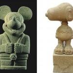 Artista cria estátuas estilo pré-colombianas dos Simpsons, Snoopy e Mickey Mouse