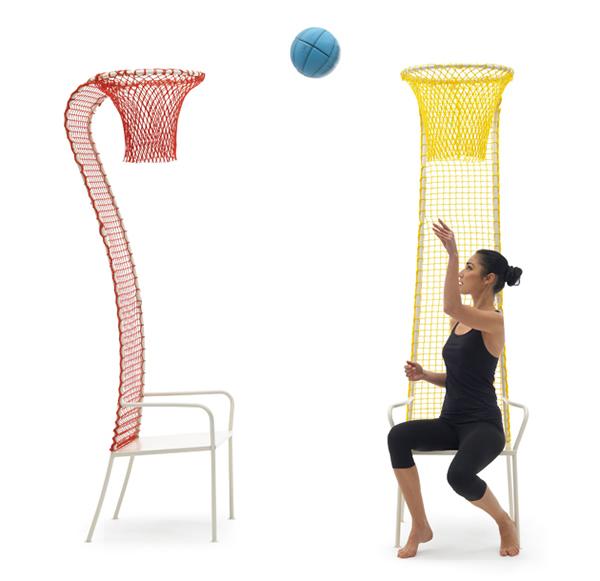 Lazy Basketball - A curiosa cadeira com um enorme encosto em forma de cesta de basquete
