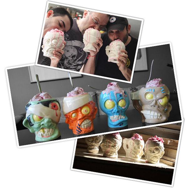 Potes com formato de cabeça de zumbi para sorvetes de cérebro. Braaaaiiiiinnnsss!