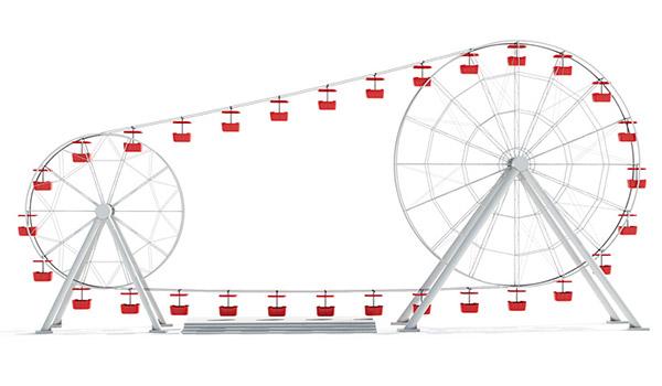 Parque das Invenções: Designers reinventam a Roda Gigante ao criarem uma Roda Gigante dupla!