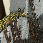 Cenário espetacular da batalha de Helm's Deep de Senhor dos Anéis recriado com 150 mil blocos de Lego