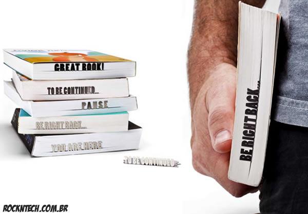 Marcadores de páginas te mostram onde parou de ler com frases criativas
