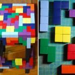 Decoração Geek: Mesa Tetris feita com muitos blocos coloridos