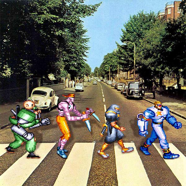 Os Simpsons e outros personagens da cultura pop em Abbey Road