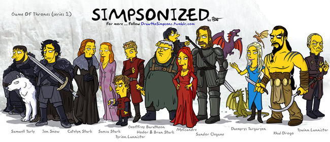 Personagens de Game Of Thrones estilo Simpsons
