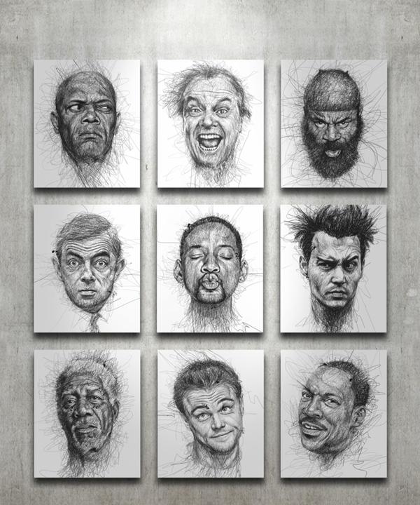 Artista faz retratos incríveis de atores de Hollywood com muitos rabiscos