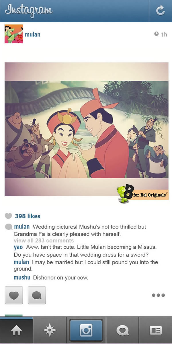 E se as princesas e personagens da Disney tivessem Instagram?