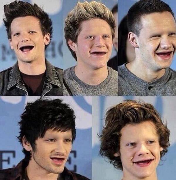 Deixaram o pessoal do One Direction sem dentes e sobrancelhas!