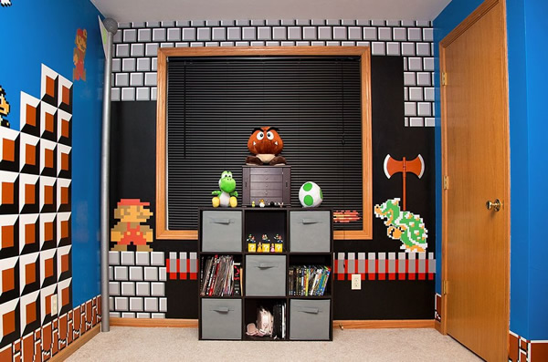 Com vocês, mais um quarto superlegal do Super Mario que tem até sons do game!