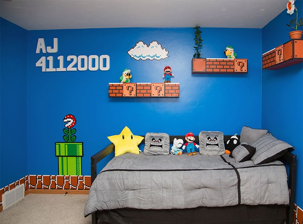 Com vocês, mais um quarto superlegal do Super Mario que