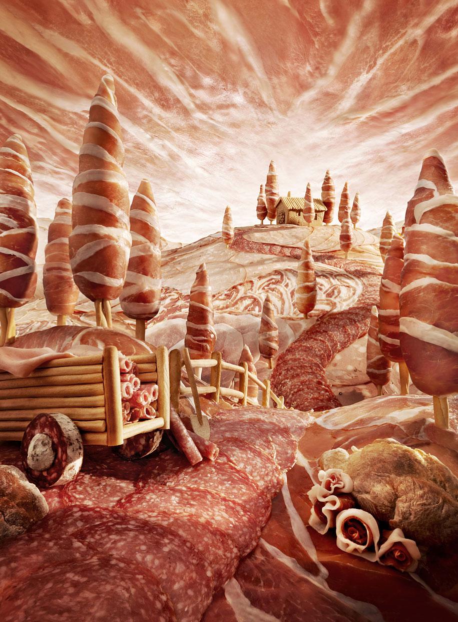 Artista cria paisagens deslumbrantes feitas inteiramente com alimentos