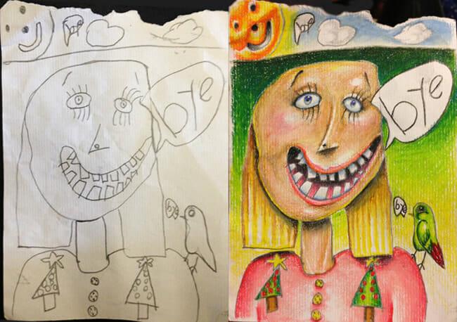 Dad colors - Pai pinta os desenhos dos seus filhos