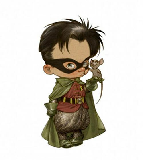 9 Super-heróis desenhados como crianças fofas