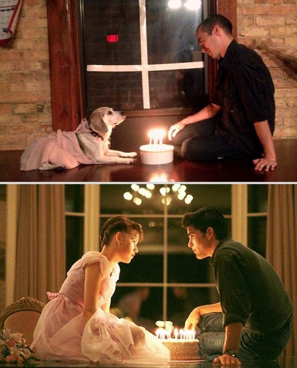Cenas de filmes recriadas por um dono e seu cachorro