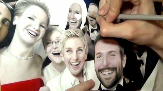 E agora fizeram um desenho do selfie do Oscar que ficou perfeito. Assista ao vídeo!