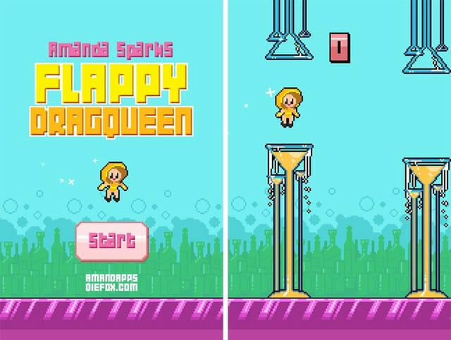 """No Flappy DragQueen você assume o papel de um DragQueen que precisa """"bater os braços"""" para não colidir com copos de drinks. O game está disponível na Google Play."""