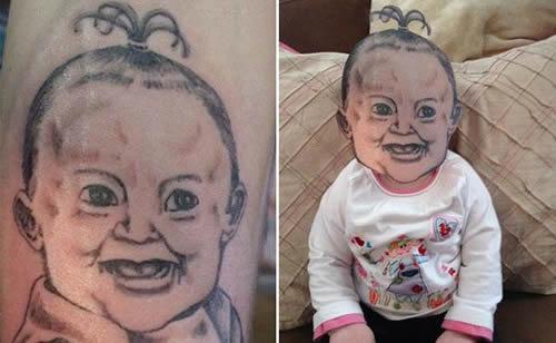 12 Rostos bizarros de tatuagens trocados com os de pessoas e animais