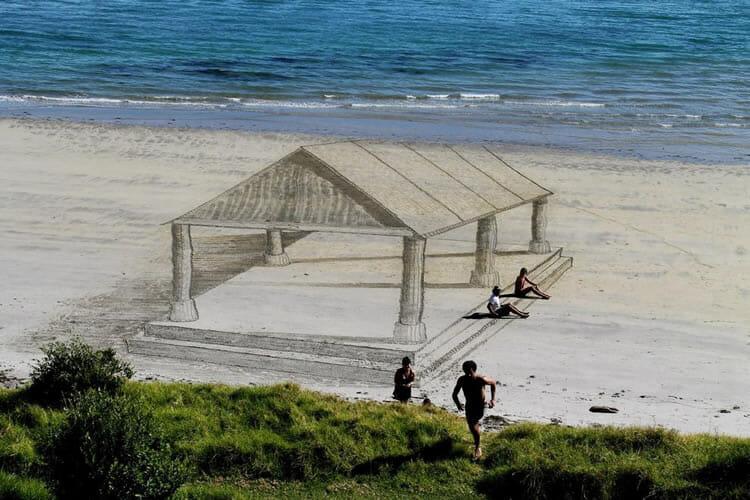 11 Desenhos 3D sensacionais feitos na areia da praia