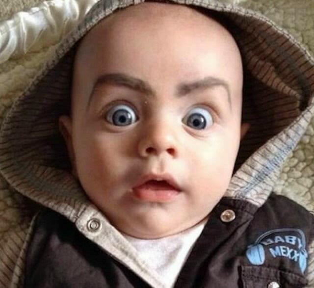 39 Fotos engraçadas de bebês com sobrancelhas pintadas