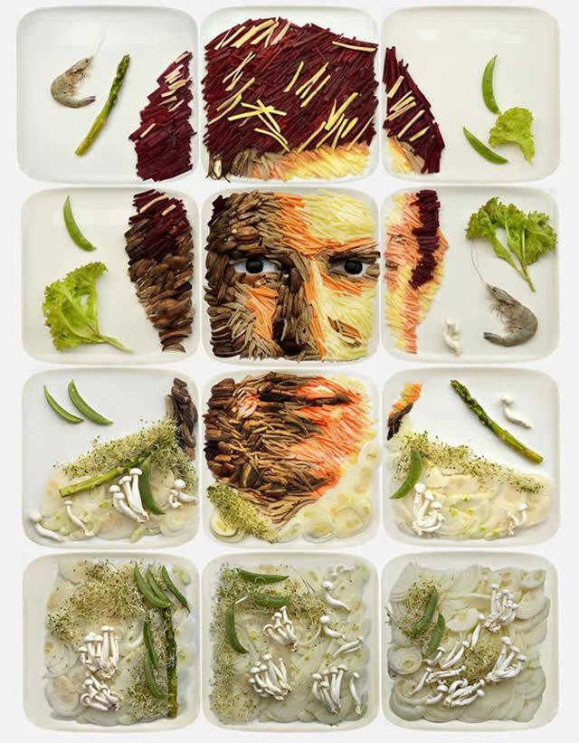 Artista transforma pratos em pinturas sensacionais feitas com comida