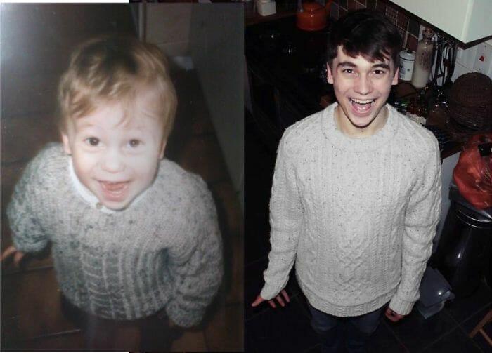 24 Fotos idênticas mostram o antes e depois de pessoas comuns quando crianças e adultos
