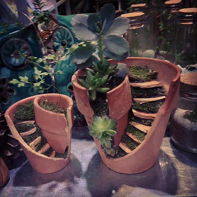 18 Vasos quebrados transformados em miniaturas sensacionais