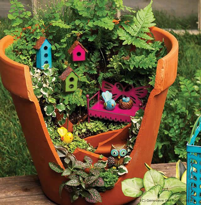 jardins ideias criativas : jardins ideias criativas:Transformação em Vaso Quebrado