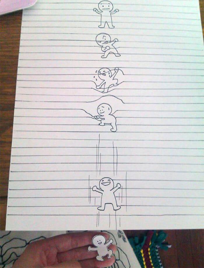 Entre linhas: 7 Desenhos superlegais que interagem com as linhas do caderno